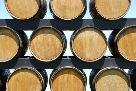 Wine and  or beer barrels on a rack photo