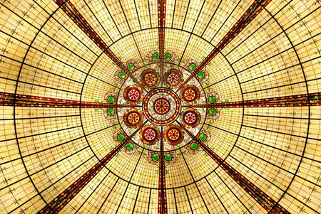 Yellow abstract chandelier - view from the bottom Stock Photo - 826886