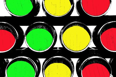 cabarnet: Barrels designed to look like a graphic illustration. Traffic lights colored barrels Stock Photo