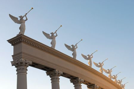 Angels with golden trumpets photo
