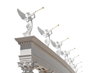 Angels with golden trumpets-isolated photo