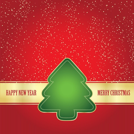 Card wit Christmas tree Vector