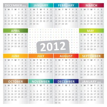 Calendar for Year 2012 Illustration