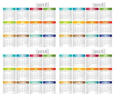 calendar for 2012, 2013, 2014, 2015 year Vector