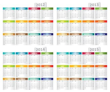 calendar for 2012, 2013, 2014, 2015 year Stock Vector - 11501596