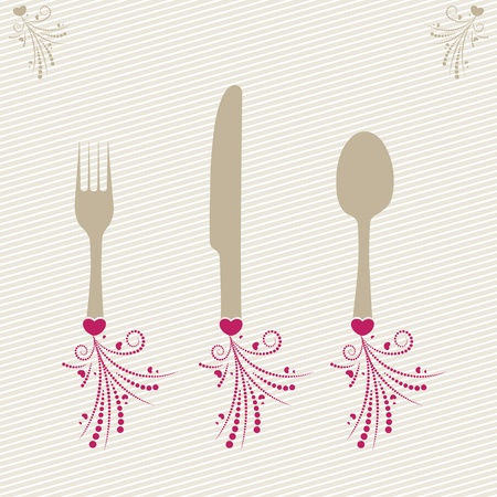 dinner setting: conjunto de tenedores, cucharas y un cuchillo con una decoraci�n Vectores