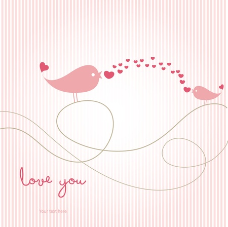 love card with birds Vector