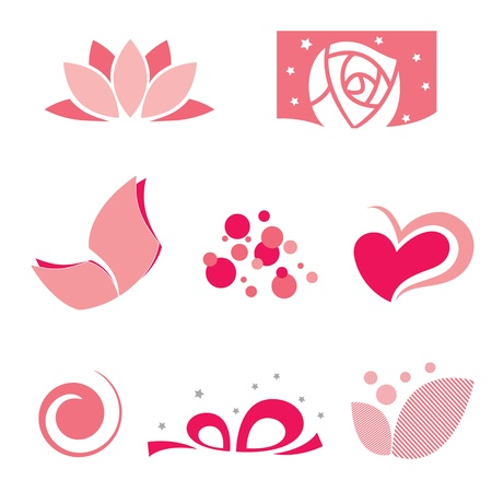 flower logo: set of rose symbol