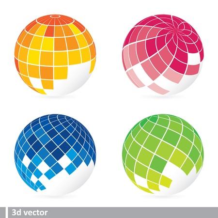 longitude: set of abstract mosaic 3d