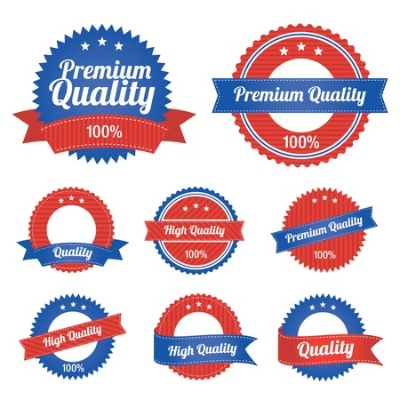 Premium Quality Labels in blue in red color Vector