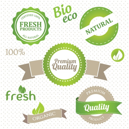 set of eco and organic elements Vector