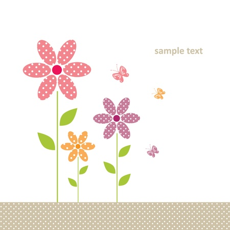 birth announcement: cute greeting card with flower