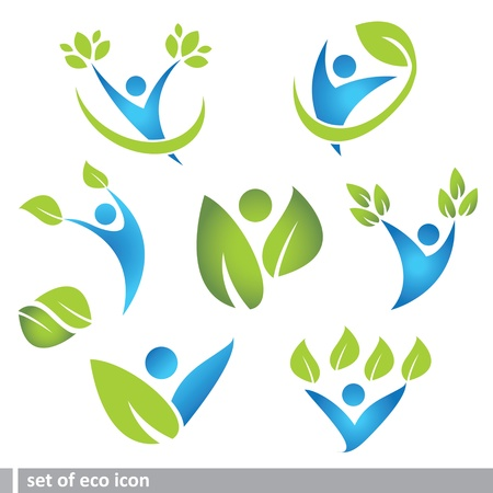 set of eco and people icon Illustration