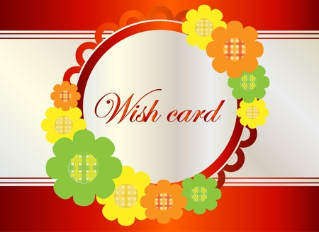 wish card with flower Vector