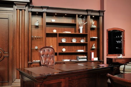 study room with a wooden cabinet