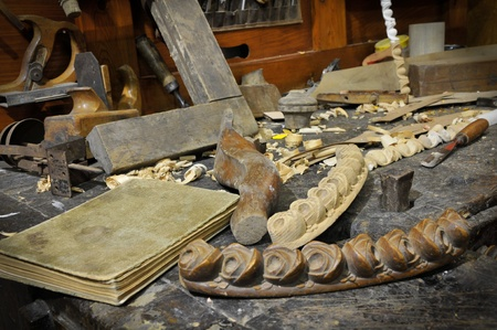 Old workbench and book Stock Photo - 11573052