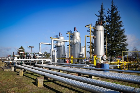 gas pipe: Oil industry,oil separators Stock Photo