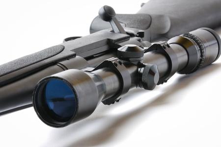 arsenal: black hunting rifle with optics isolated on white