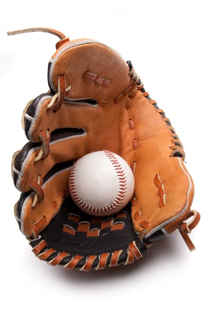 A baseball glove and ball on a white background