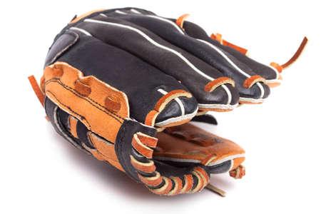guante de beisbol: Un guante de béisbol en un fondo blanco Foto de archivo