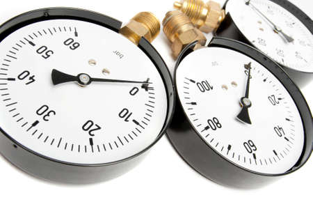 Pressure Gauge isolated On White photo