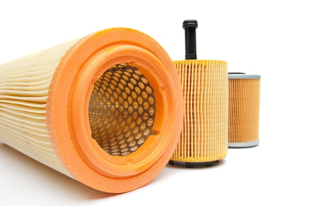 engine oil: Filters for car isolated on a white background