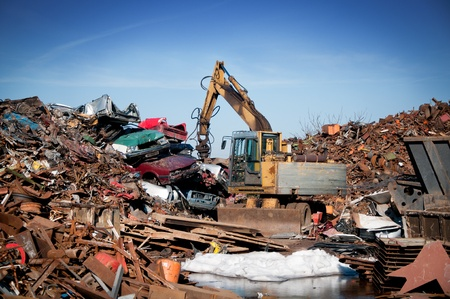 scrap heap: Recycling of metals Stock Photo