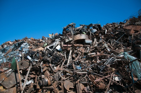 discarded metal: Recycling of metals Stock Photo
