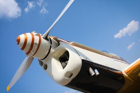 stunts: Yellow plane propeller Stock Photo