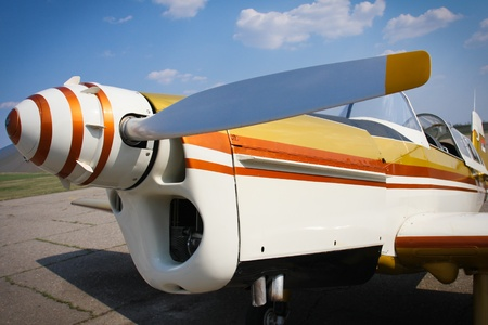 Yellow plane propeller photo