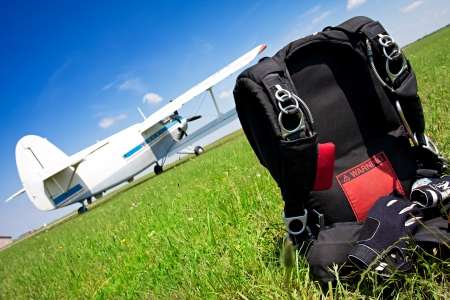 Skydiving parachutes ready to international competition