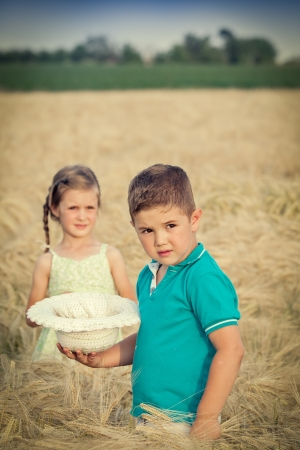 Little boy in wheat field Stock Photo - 14122311