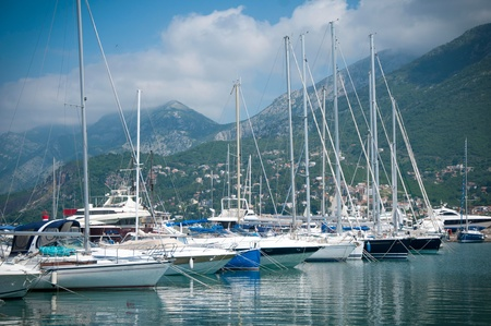 dinghies: Marina with yachts and boats