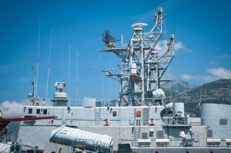 destroyer: Detail of antenna on warship