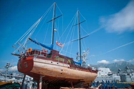 The old seiner in repair dock photo