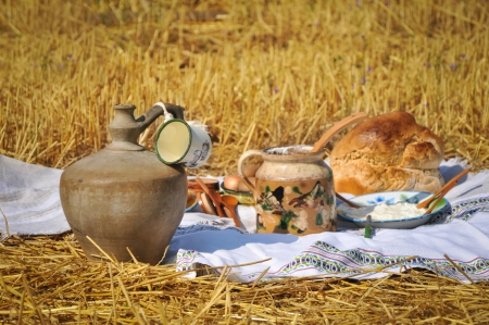 Traditional breakfast of wheat field photo