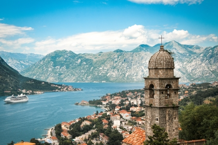 Old town in mountains in Kotor photo