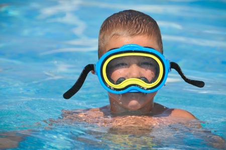boy with dive mask photo