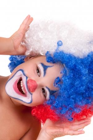 closeup image of the cute little clown boy 写真素材