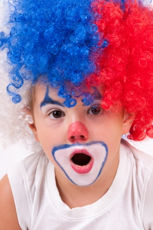 entertainers: closeup image of the cute little clown boy Stock Photo