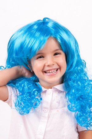 Little girl with blue wig Stock Photo - 15334354