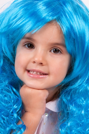 Little girl with blue wig Stock Photo - 15334350
