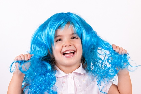 Little girl with blue wig Stock Photo - 15332108