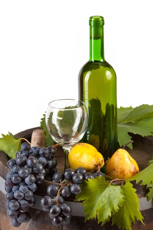 corked: wine grapes and pears on a white background