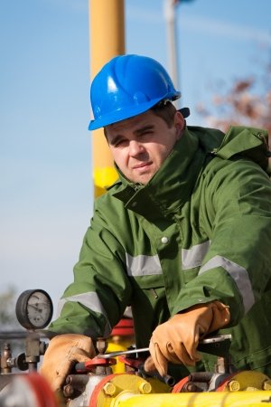 pipelines: The worker of the gas refinery Stock Photo