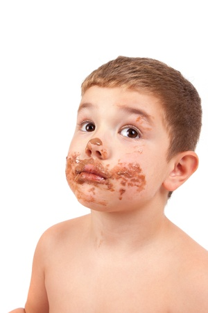 splotchy: Cute kid with chocolate on his face Stock Photo