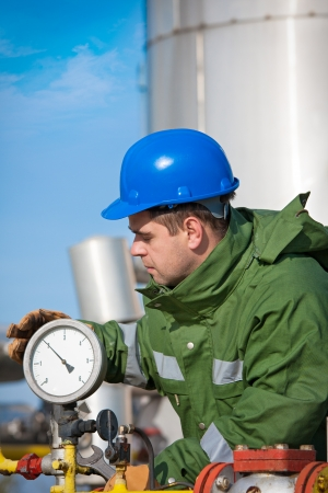 Gas Productie Operator Stockfoto