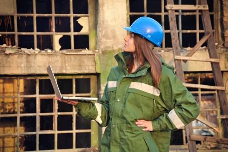 female architect: Female architect with helmet