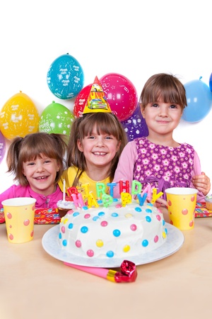 kids celebrating birthday party photo