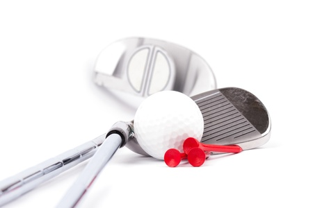 putter: golf club with ball on white background
